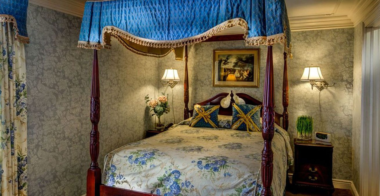 Guest bedroom with bed canopy